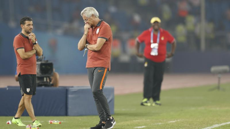 Matos looks dejected after Ghana scored goal against India in the Group A match played at Jawaharlal Nehru stadium in New Delhi.. (Photo: AP)