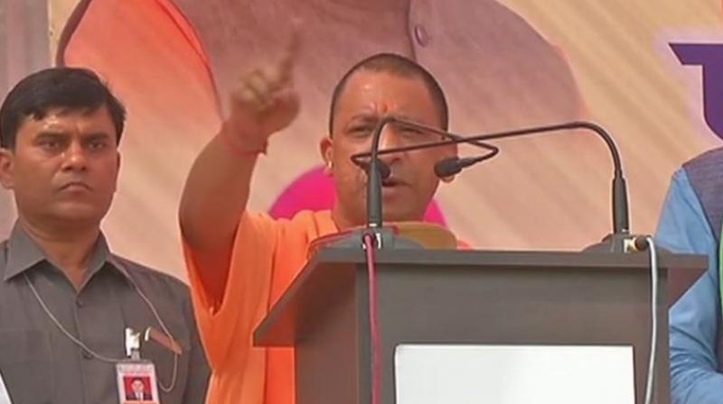 Uttar Pradesh Chief Minister Yogi Adityanath was addressing a rally at Solan. (Photo: ANI | Twitter)