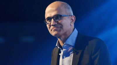 Microsoft CEO Satya Nadella addresses during the company's flagship technology and business conference
