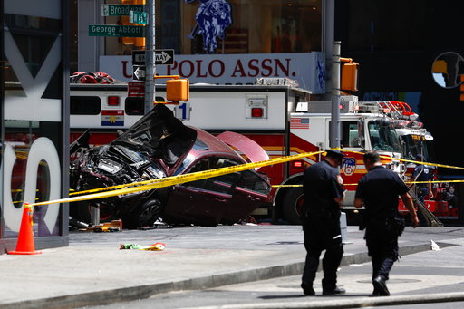 A 26-year-old man who appeared intoxicated drove his car the wrong way up a Times Square Street Thursday.