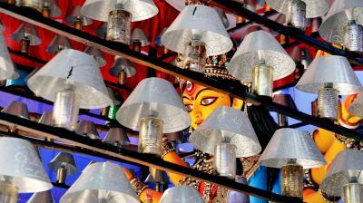From a 100-foot-tall Durga idol in Guwahati, to Buckingham Palace in Kolkata, India celebrates the autumnal festival of the 10-armed-goddess Durga (Photo: PTI, AP)