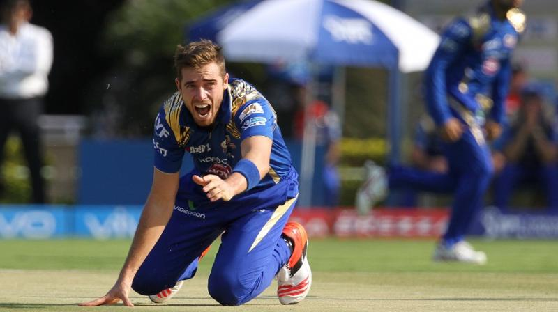 While the entire Mumbai Indians unit had a good laugh at Tim Southee's expense, the Kiwi pacer was sporting enough and did not get angry. (Photo: BCCI)