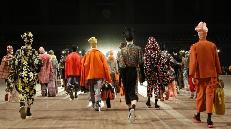 Models depart the runway en masse at the conclusion of the Marc Jacobs 2018 Spring/Summer fashion show during New York Fashion Week (All images: AP)