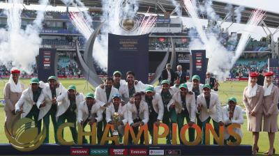 Defying odds stacked against them, Pakistan came out all guns blazing and put up a splendid all-round performance to beat India by 180 runs and lift their maiden ICC Champions Trophy title. (Photo: AP)