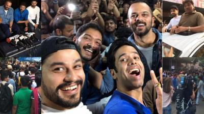 After garnering some stunning numbers at the box office on the first two days, the team of 'Golmaal Again' visited the Gaiety Galaxy theatre in Bandra, Mumbai where they interacted with fans. (Photo: Twitter)