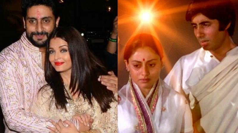 Abhishek and Aishwarya Bachchan, Amitabh and Jaya Bachchan.