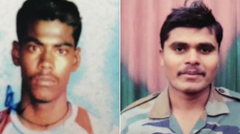 Sepoy Ilayaraja P and Sepoy Gowai Sumedh Waman - the two soldiers who lost their lives in the encounter in Shopian. (Photo: ANI | Twitter)