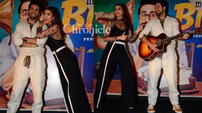 Ayushmann Khurrana and Parineeti Chopra launched a song from their upcoming film 'Meri Pyaari Bindu' on Tuesday. (Photo: Viral Bhayani)