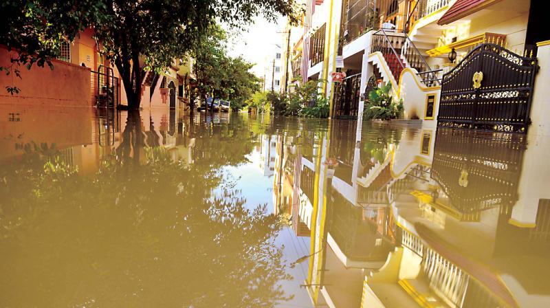 Waterlogging at Anugraha Layout in Kodichikkenahalli, Bengaluru. (Photo: DC)