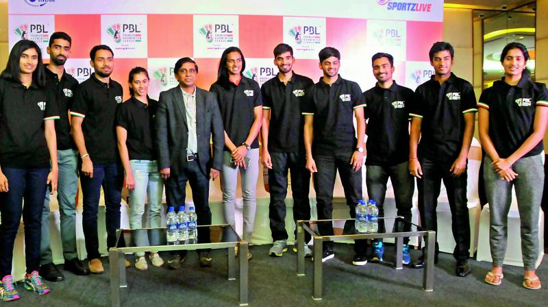 Olympic silver medallist P.V. Sindhu and other shuttlers pose at the press conference for the PBL Season 2 in Hyderabad on Friday.