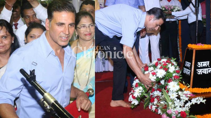 Akshay Kumar attended the 18th Kargil Vijay Diwas event, to honour the sacrifice of the soldiers who fought the war, held in Mumbai on Wednesday. (Photo: Viral Bhayani)