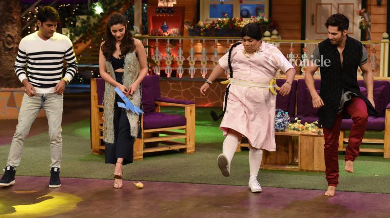 Varun Dhawan and Alia Bhatt promoted their film 'Badrinath Ki Dulhania' on Kapil Sharma's comedy show on Sunday. (Photo: Viral Bhayani)
