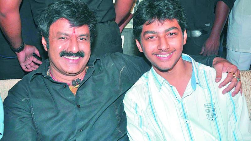 File photo of Balakrishna with son Mokshagna.