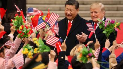 US President Donald Trump and Chinese President Xi Jinping participate in a welcome ceremony at the Great Hall of the People on November 9, 2017 in Beijing, China. (Photo: AP)