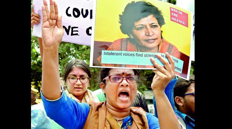 Gauri Lankesh murder: Scribes protest, seek justice for Lankesh