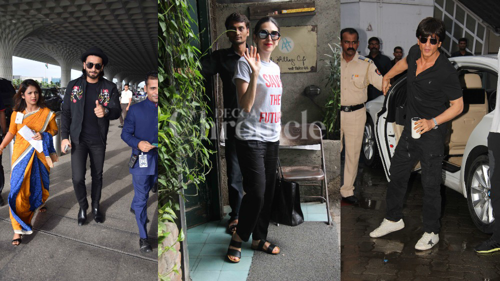 Ranveer and SRK stepped out in all-black attires. Karishma, on the other hand, wore a simple tee and formal pants.
