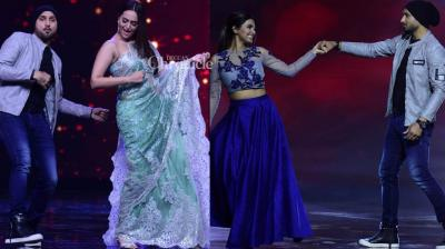 Cricketer Harbhajan Singh and his wife Geeta Basra were guests on the dance-based reality show 'Nach Baliye' in an episode that was shot on Tuesday. (Photo: Viral Bhayani)
