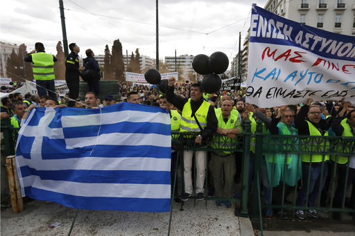 An anti-austerity rally in Greece's capital turned violent on Wednesday as a general strike halted flights, ferries and public transportation, and thousands joined protest marches across the country.
