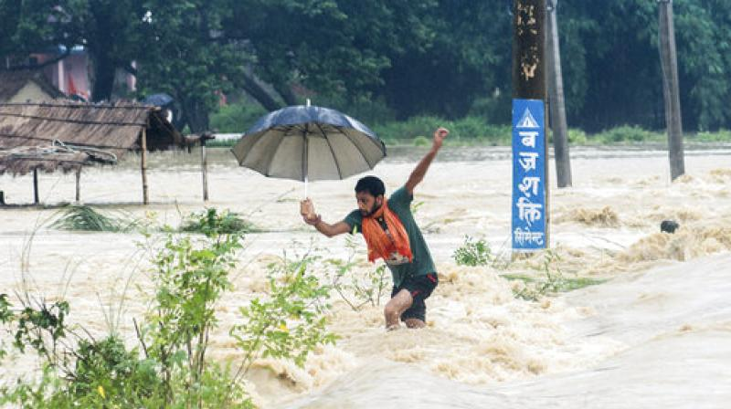 Families perched on trees with young children overnight as flood waters swept away homes in a village in southern district of Chitwan, local media reported. (Photo: AP)