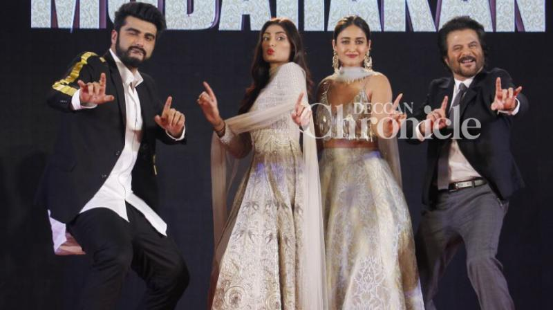 Keeping with the wedding theme of their film, the team of 'Mubarakan' held a sangeet ceremony in Mumbai on Thursday. (Photo: Viral Bhayani)