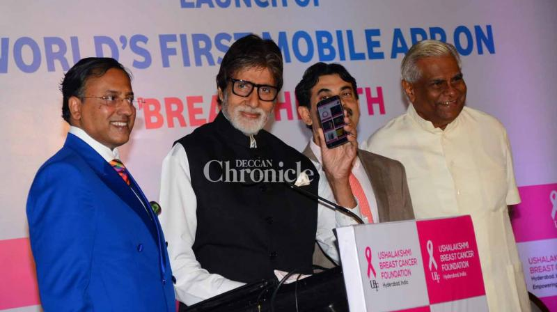 Amitabh Bachchan on Wednesday launched world's first app for breast health in Mumbai on Wednesday. (Photo: Viral Bhayani)