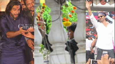 Bollywood stars were snapped by shutterbugs as they enjoyed Dahi Handi celebrations on the occasion of Janmashtami celebrated worldwide on Tuesday. (Photo: Viral Bhayani)