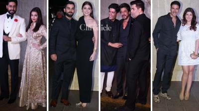 Fashion designer Manish Malhotra celebrated his 50th birthday on Monday and several stars from the film industry made an appearance at the bash. (Photo: Viral Bhayani)