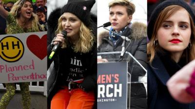Scores of celebrities showed up at huge women's marches in Washington and other cities to send the new president, Donald Trump, a pointed message that he was in for a fight.