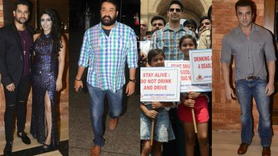 Malayalam superstar Mohanlal was snapped in Mumbai, Sidharth Malhotra had a busy day in Delhi, while other Bollywood celebrities were snapped at various locations in Mumbai at events on Sunday. (Photo: Viral Bhayani)