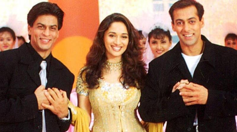 Shah Rukh Khan, Madhuri Dixit and Salman Khan in 'Hum Tumhare Hain Sanam.'