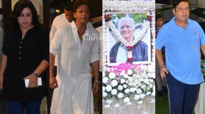 Shah Rukh Khan and several other stars were spotted at a prayer meet for director Kundan Shah, who passed away on 7 October. (Photo: Viral Bhayani)