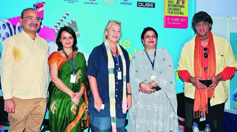 From left, Dr Shravan Kumar, Amala Akkineni, Sannette and Mukesh Khanna address an open forum on women and children's films