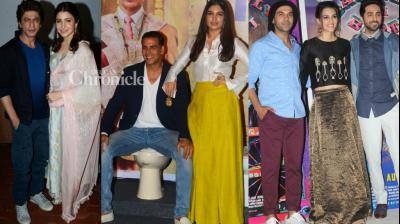 Teams of upcoming films 'Jab Harry Met Sejal', 'Toilet: Ek Prem Katha' and 'Bareilly Ki Barfi' were spotted during various promotional events for the film in Mumbai on Thursday. (Photo: Viral Bhayani)