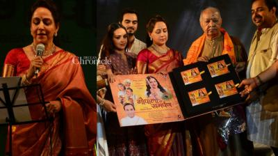 With the festival of Janmashtami being celebrated on Tuesday, actress and MP Hema Malini launched the devotional album 'Gopala Ko Samarpan' at ISCKON Temple in Mumbai on Sunday. (Photo: Viral Bhayani)