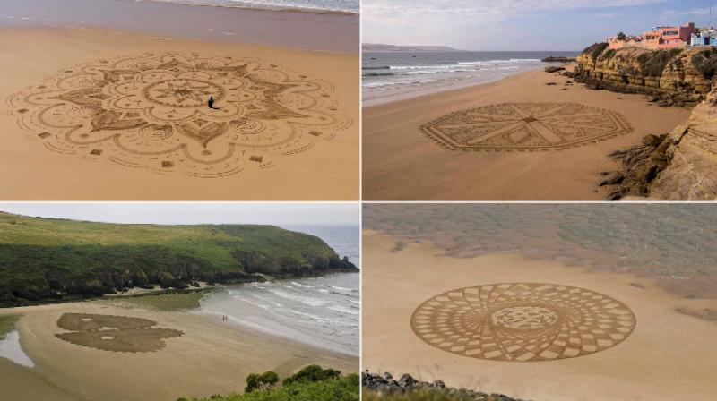 Sand artist Sam Dougados creates art on beaches that is inspired from Arabic designs and patterns that he visualizes. (Photo: Facebook/SamDougados)