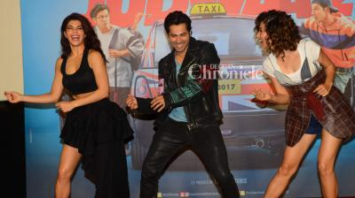 The team of upcoming action-comedy 'Judwaa 2' led by the Varun Dhawan, Taapsee Pannu and Jacqueline Fernandez launched the trailer of the film in a fun-filled event held in Mumbai on Monday. (Photo: Viral Bhayani)
