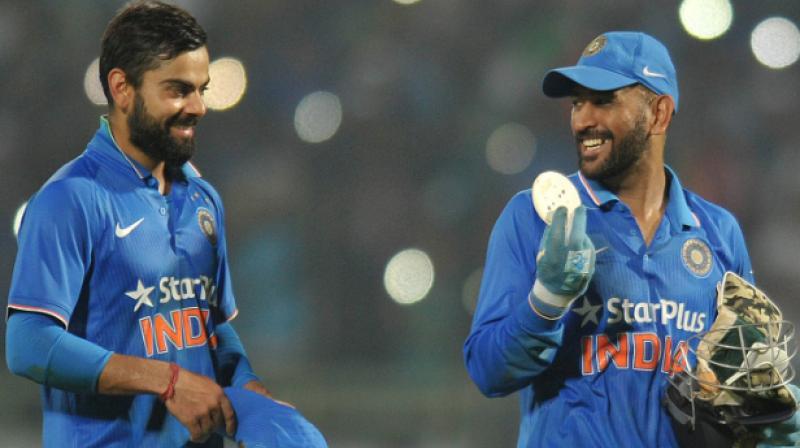 Image result for dhoni and kohli in odi fielding
