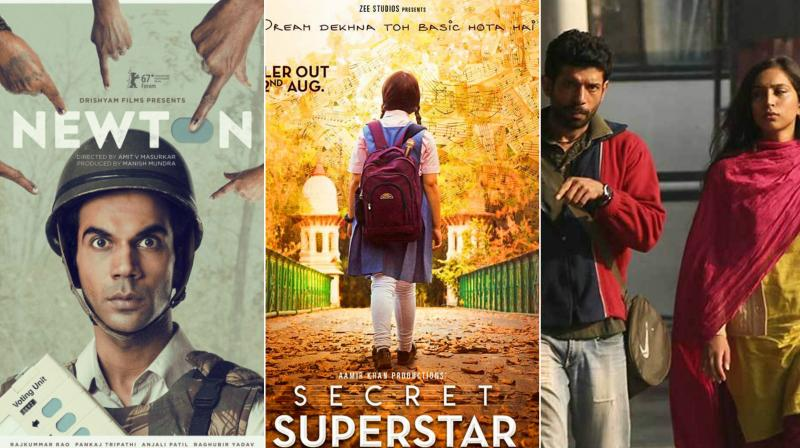 Bollywood is warmimg up to content-rich films. In picture: (L-R) Newton, Secret Superstar, Mukkabaaz