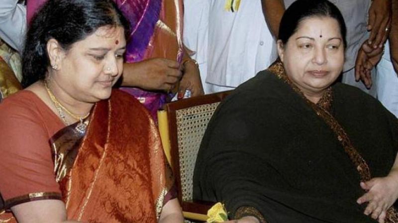 VK Sasikala with late Tamil Nadu chief minister Jayalalithaa (Photo: PTI)