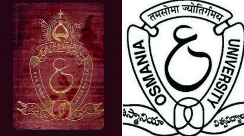 The old (left) and the new logo of Osmania University.