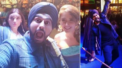 The team of the wedding comedy 'Mubarakan' launched the song 'Jatt Jaguar' from the film in Chandigarh on Saturday. (Photo: Twitter)