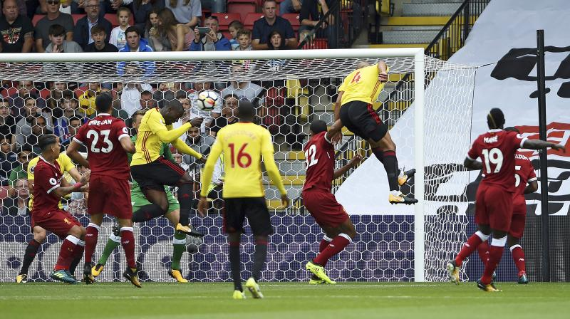 Liverpool's victory looked assured, only for Miguel Britos to reward Watford's persistence at the death. (Photo: AP)