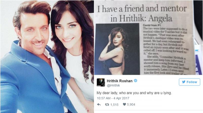 "Refuting to her claims the 'Kaabil' star tweeted, ""My dear lady, who are you and why are u lying."""