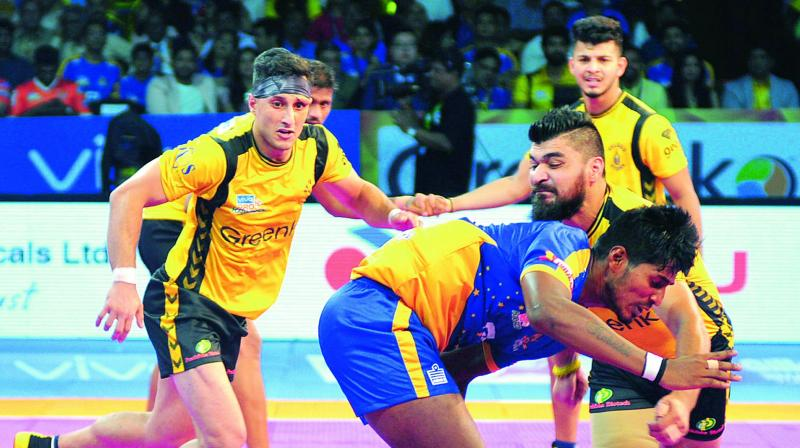 Image result for Vivo Pro Kabaddi League: Telugu Titans thrashes Tamil Thalaivas