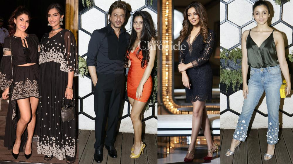 Bollywood celebrities came out in good numbers for the launch of a lounge bar designed by Gauri Khan in Mumbai on Sunday. (Photo: Viral Bhayani)