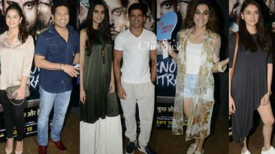 Celebrities turned up at a special screening of Farhan Akhtar and Diana Penty starrer 'Lucknow Central' held in Mumbai on Sunday. (Photo: Viral Bhayani)