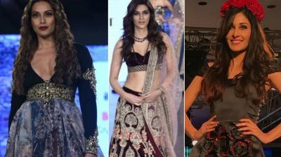 Bollywood actresses looked their stylish best as they walked the ramp at the Bombay Times Fashion Week held in Mumbai on Sunday. (Photo: Viral Bhayani/ Twitter)