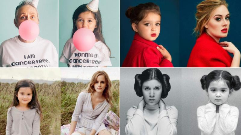 Photographer Ashley Larson made her daughter Scout Penelope dress up as famous personalities to support her grandmother in her fight against cancer. (Photo: Instagram)