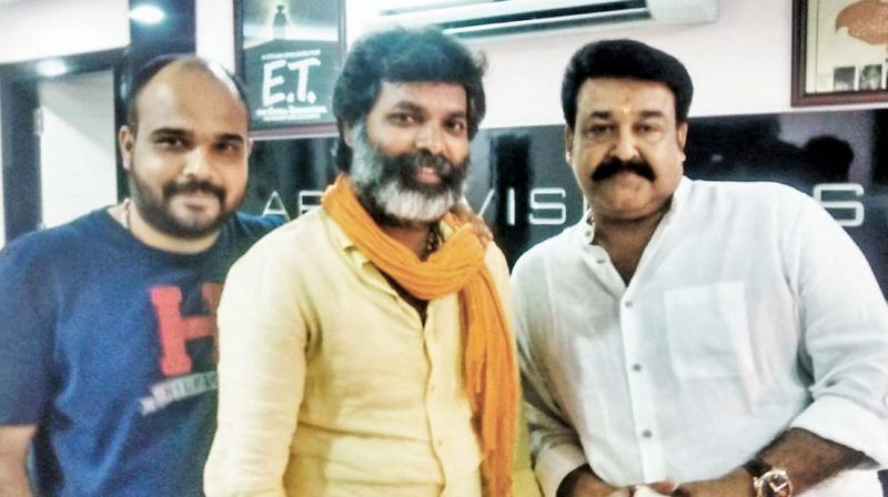Director Vysakh, Bala and Mohanlal.