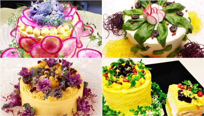 Japanese chef Misuki Moriyasu decided to encourage people who hate eating healthy by turning salads into cakes. (Photo: Instagram/vegedecosalad)